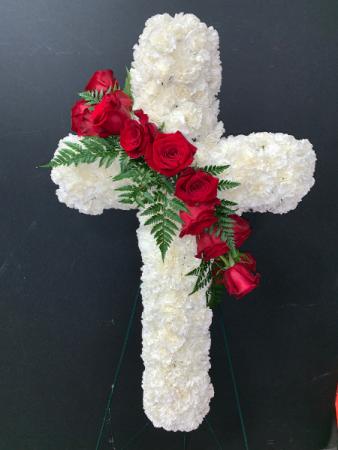 White Cross w/Rose Swag Fresh Flowers