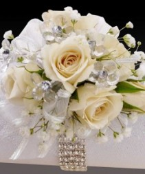 White crystal corsage