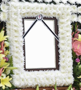 WHITE CUSHION PICTURE FRAME/MEMORIAL STANDING PICTURE SPRAY ON 5'-6