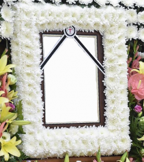 "WHITE CUSHION PICTURE FRAME/MEMORIAL STANDING PICTURE SPRAY ON 5'-6"" STAND"