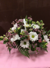White Daisy Basket Arrangement
