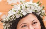 WHITE DENDRO ORCHID HAKU LEI GRADUATION CAP/HEADPIECE