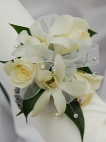 White Dendrobium orchid corsage With sweetheart ro  Your color choice of Ribbon and gold or silver sparkles!