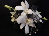 White Dendrobium Orchid with Black Accents Corsage