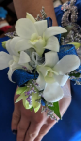 White Dendrobium Orchid Wristlet