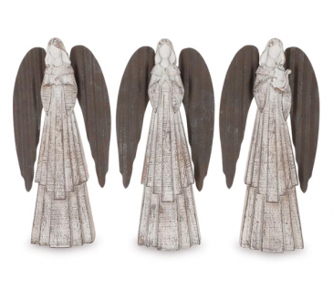 White Distressed Angel Figurine