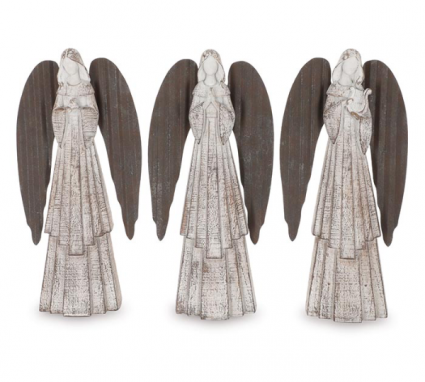 White Distressed Angel Figurine