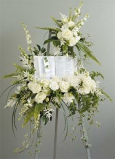 White Easel with Bible Funeral