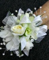 White Elegance Sweetheart Rose and Orchid Corsage