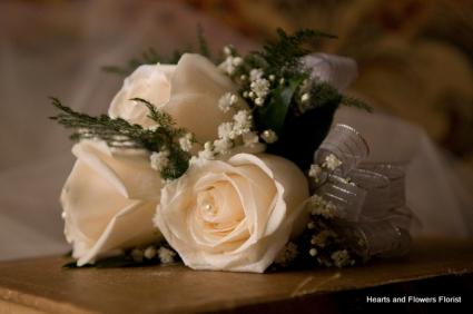 White Elegance white rose wrist corsage