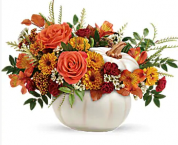 White fall pumpkin arrangement  Deliver locally to Lorain County only