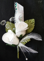 WHITE FEATHER AND ROSES