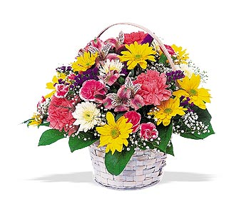 White floral Basket