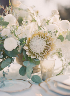 White Floral Centerpiece Wedding Reception in Port Dover, ON | Upsy Daisy Floral Studio