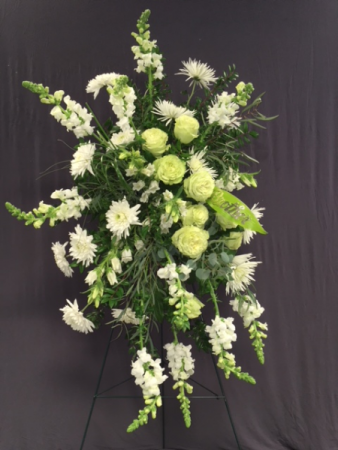 WHITE FLORAL STANDING SPRAY FUNERAL