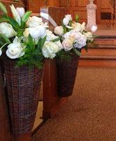 White Flower Basket Pew Hanger