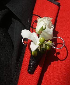 White Flower Boutonniere Prom Flowers in Dawsonville, GA | The Flower Mart
