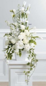White flowers - White square vase