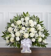 WHITE FLOWERS FUNERAL FLOOR BASKET