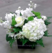 White flowers in a cube vase, MO-96 Fresh floral