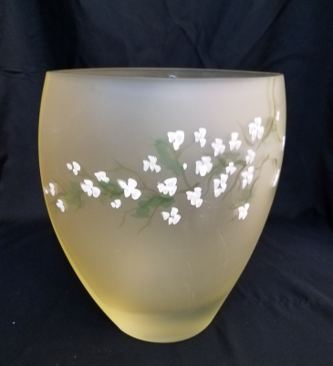White flowers on Pale Yellow Frosted Vase