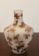 White Frosted Vase with Brown Translucent  Flowers