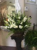 White Funeral Basket Funeral Flowers in Winston Salem, NC | RAE'S NORTH POINT FLORIST INC.