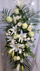 White Funeral Spray spray with white roses, lilies and tulips