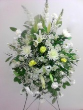 White funeral standing spray, MO-113 Fresh floral
