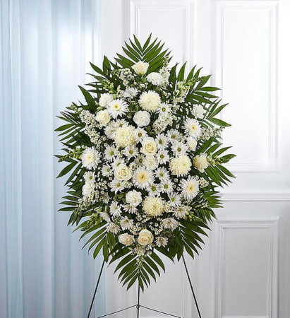 WHITE FUNERAL STANDING SPRAY WHIRE FLOWERS SPRAY WITH EASEL