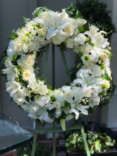 White funeral wreath funeral