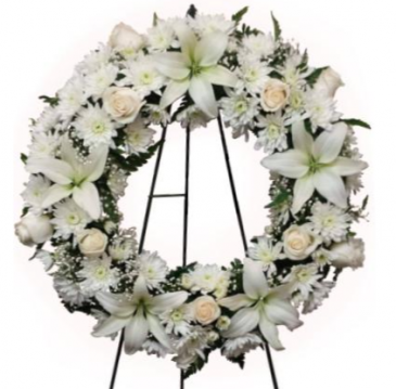 White Funeral Wreath Standing Sprays & Wreaths
