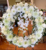 White Funeral Wreath with Orchids Funeral and Sympathy