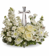 White Garden Cross Cremation