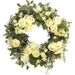 White Garden Sympathy Wreath