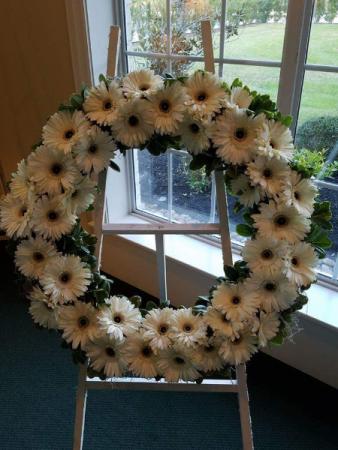 White Gerber Wreath Standing Wreath