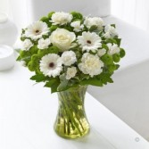 White gerbers and green Funeral Flowers