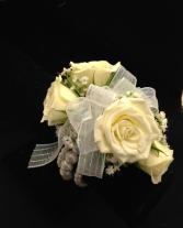 White Glitter Bow Wrist Corsage