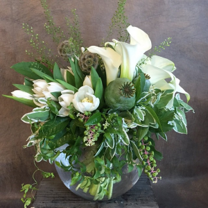 White & Green Arrangement   in Oakville, ON | ANN'S FLOWER BOUTIQUE-Wedding & Event Florist
