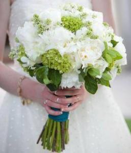 White & Green Hydrangeas Hand tied bouquet