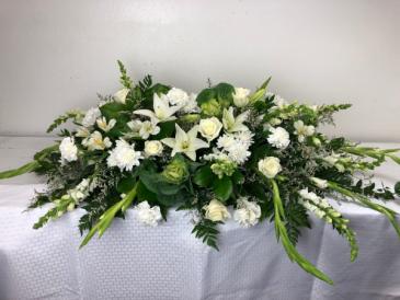 White & Green Kale, Lilies, Roses Casket Arrangement