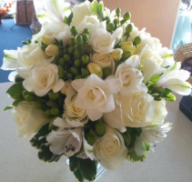 White & Green Nosegay Bridal Bouquet