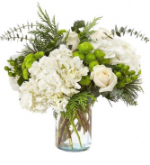 White & Green  Seaside Bouquet  Vase