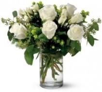 White Half Dozen Roses Arranged