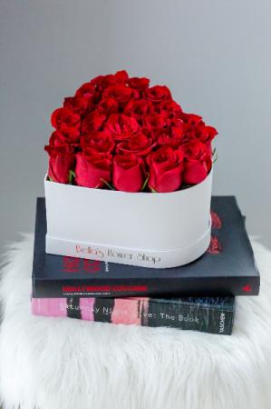 White Heart Box 25 Fresh-Cut Roses