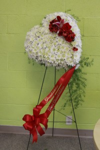 White Heart Standing Spray  in Decatur, IL | WETHINGTON'S FRESH FLOWERS & GIFTS, INC.