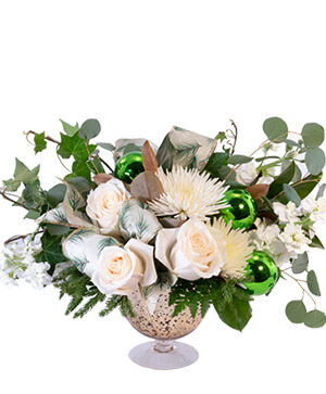 White Holiday Cheer Christmas Flowers in Modesto, CA | JANET'S FLOWERS & WEDDING CHAPEL