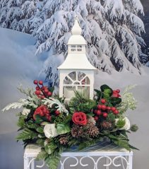 White Holiday Lantern Centerpiece