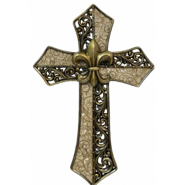 white Hollow Scrolled Cross  cross