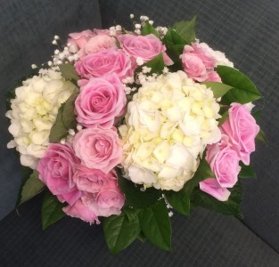 White Hydrangea And Pink Rose Wedding Bouquet In Bluffton Sc